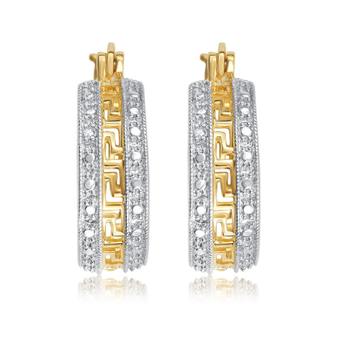 Diamond Accent Greek Key Hoop Earrings In 14k Yellow Gold Plated