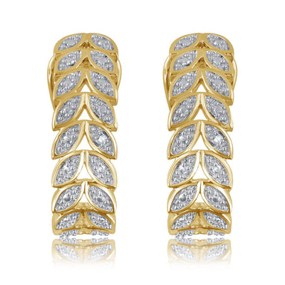 Diamond Accent Leaf Earrings In 14K Yellow Gold Plated