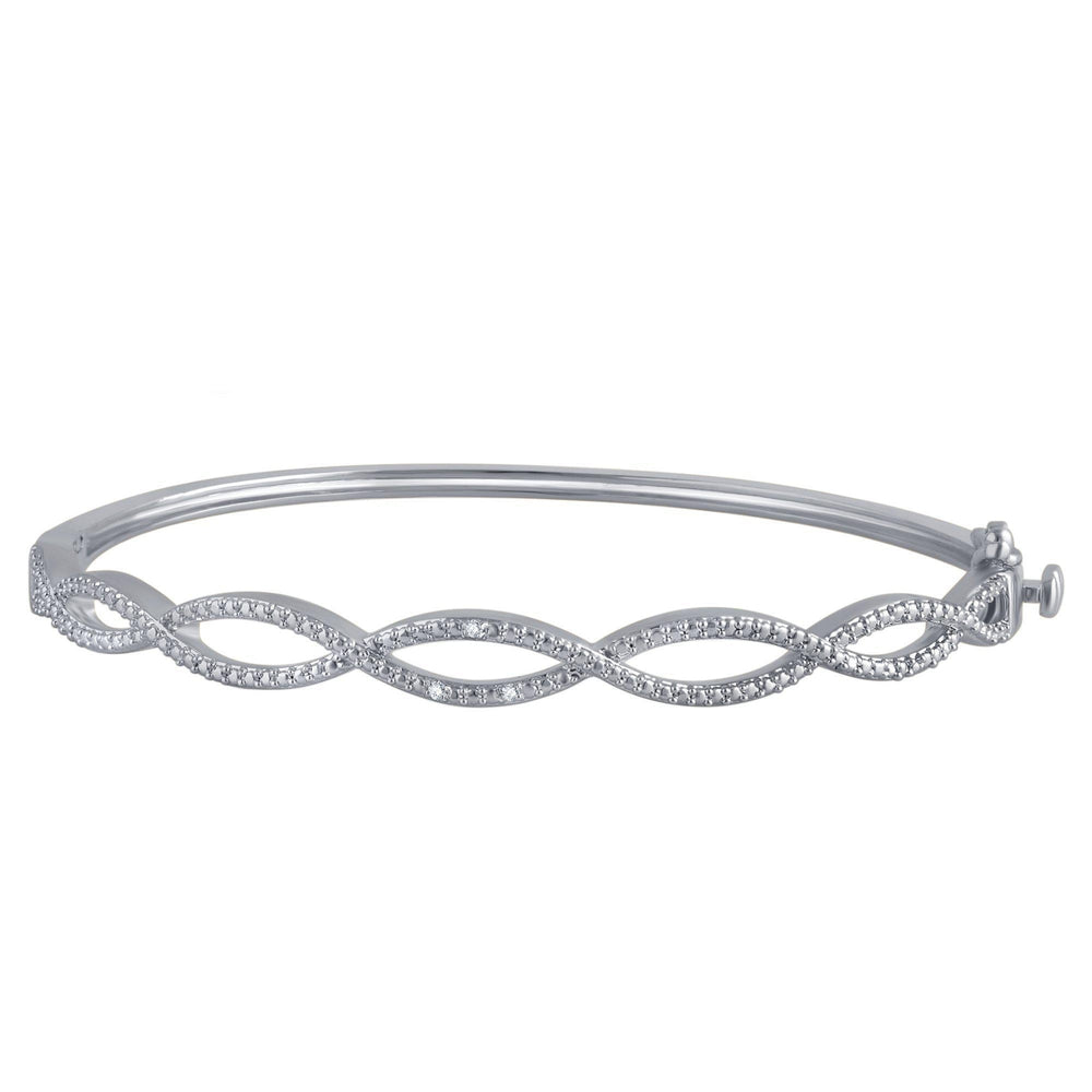 Diamond Accent Infinity Bangle In 14K White Gold Plated - ShopMilano