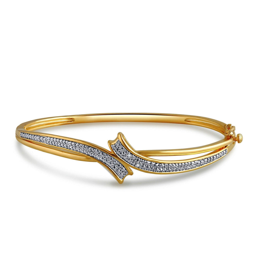 Diamond Accent Fashion Bangle In 14K Yellow Gold Plated - ShopMilano
