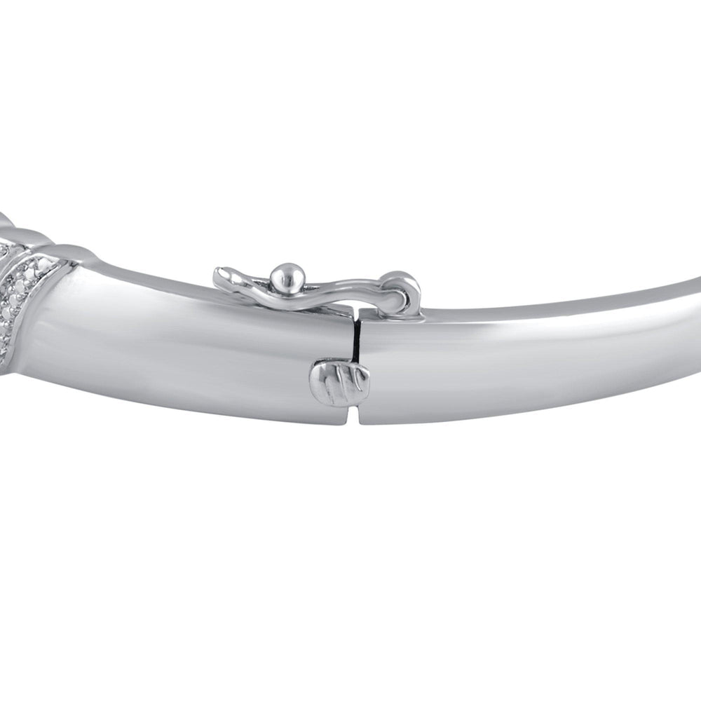 Fancy Diamond Accent Bangle in 14K White Gold Plated - ShopMilano
