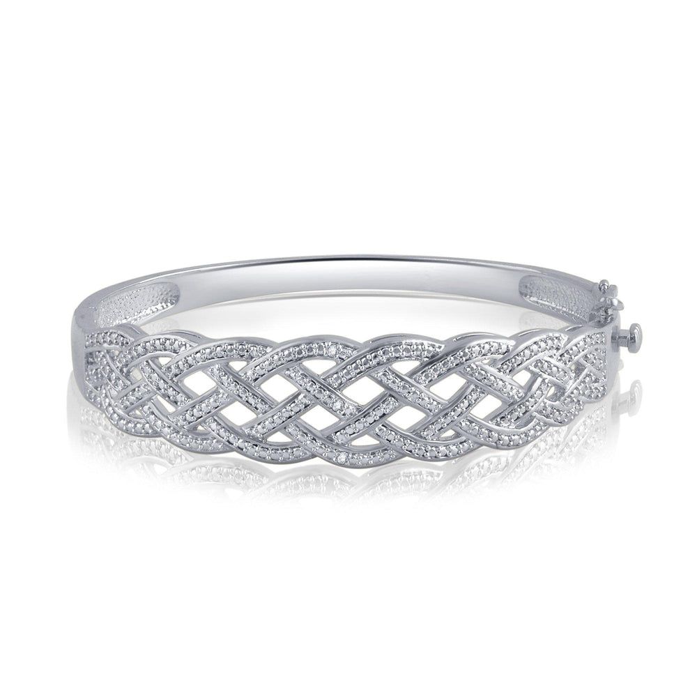 Diamond Accent Criss-Cross Bangle in 14k White Gold Plated - ShopMilano