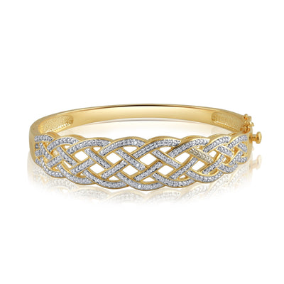 Diamond Accent Criss-Cross Bangle in 14k Yellow Gold Plated