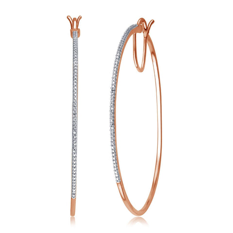 Diamond Accent Hoop Earrings In 14k Rose Gold Plated