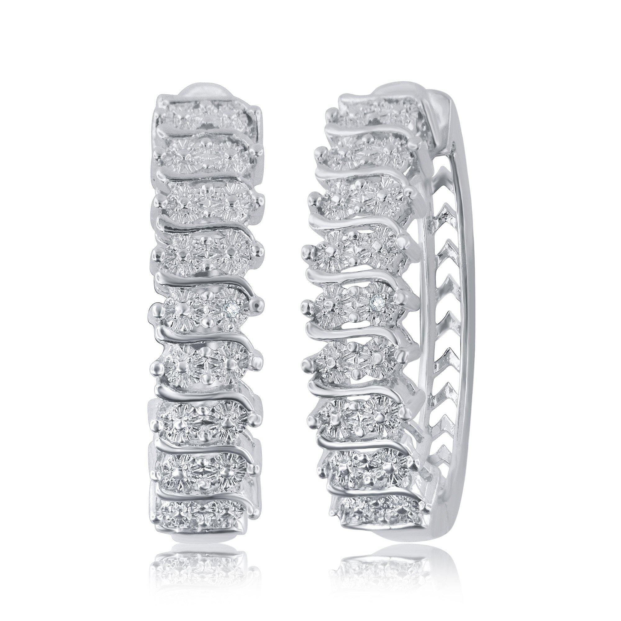 Diamond Accent Hoop Earrings In 14k White Gold Plated