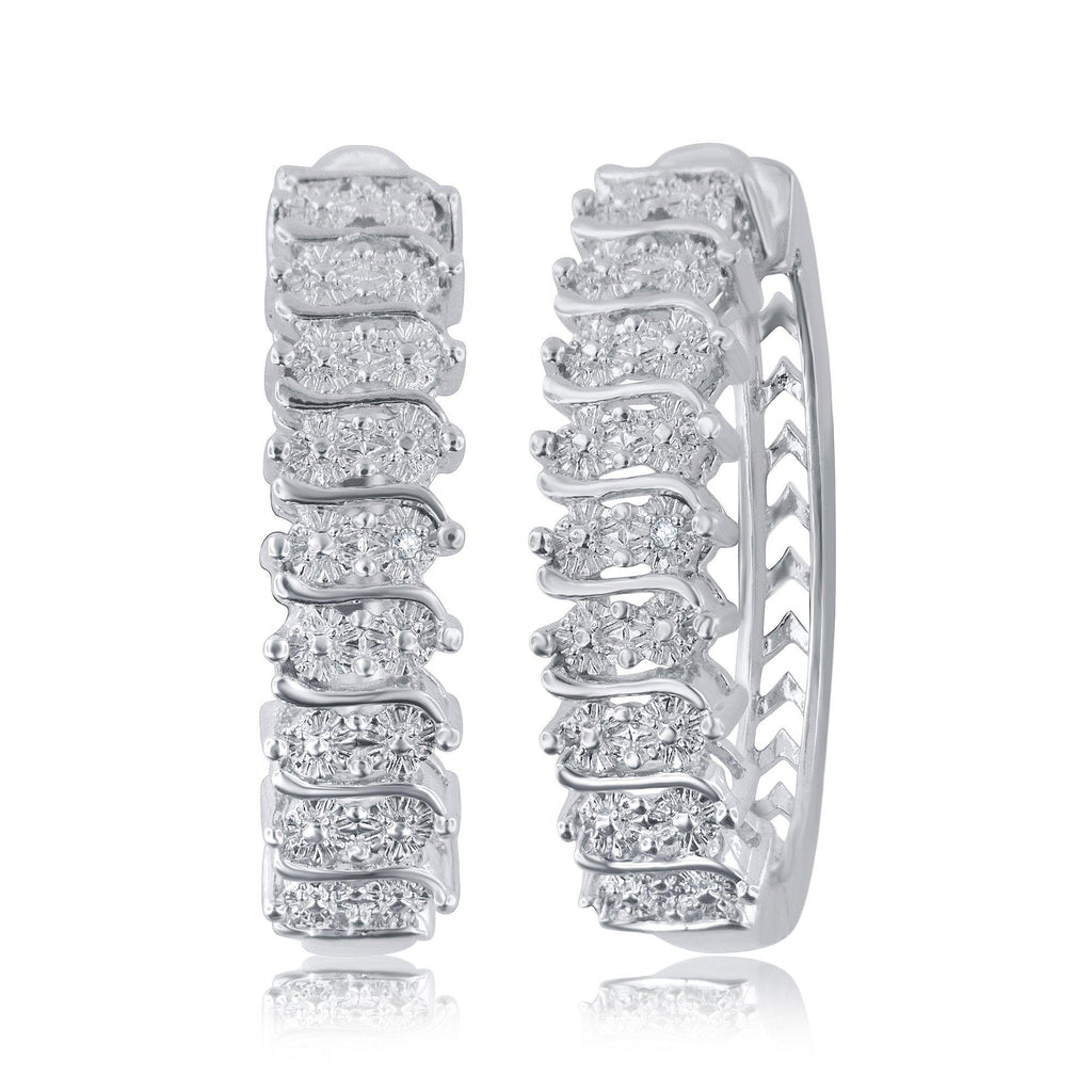 Diamond Accent Hoop Earrings In 14k White Gold Plated - ShopMilano