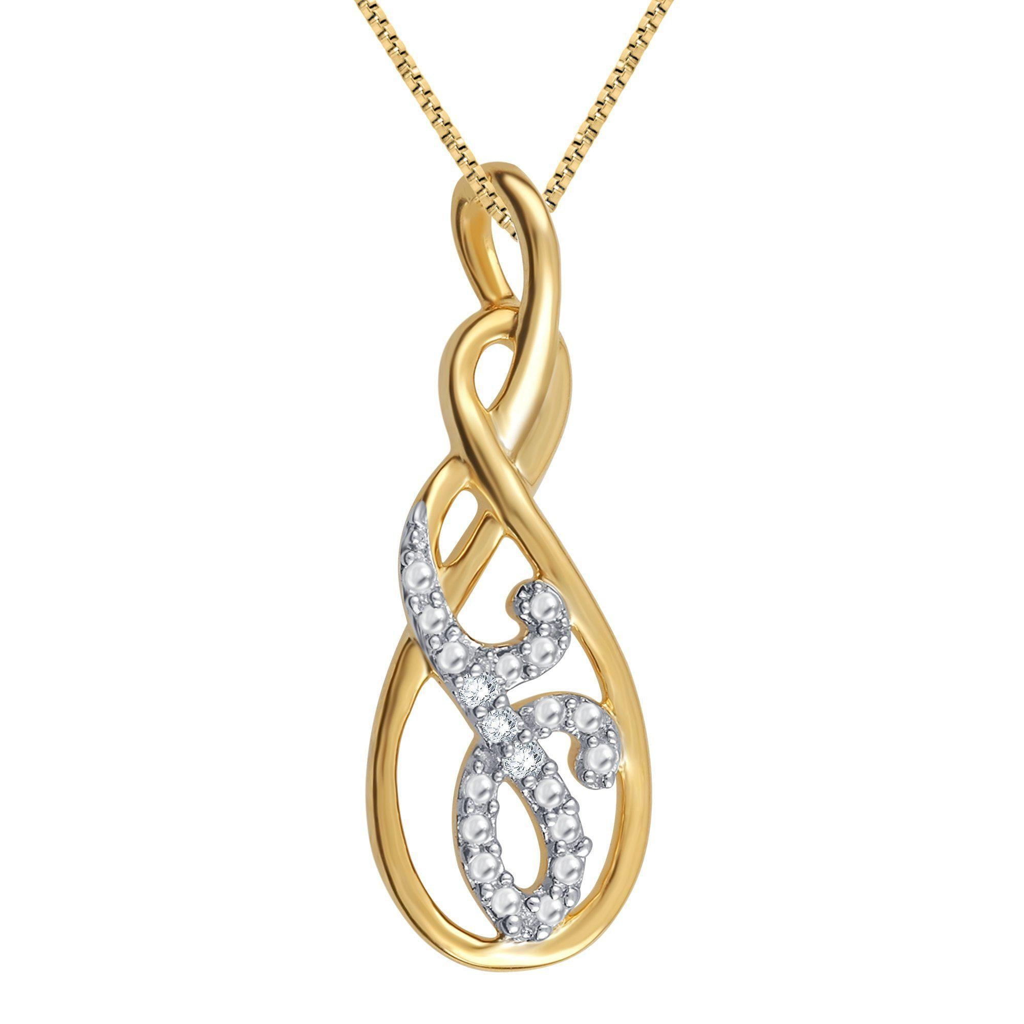 Diamond Accent Necklace In 14K Yellow Gold Plated
