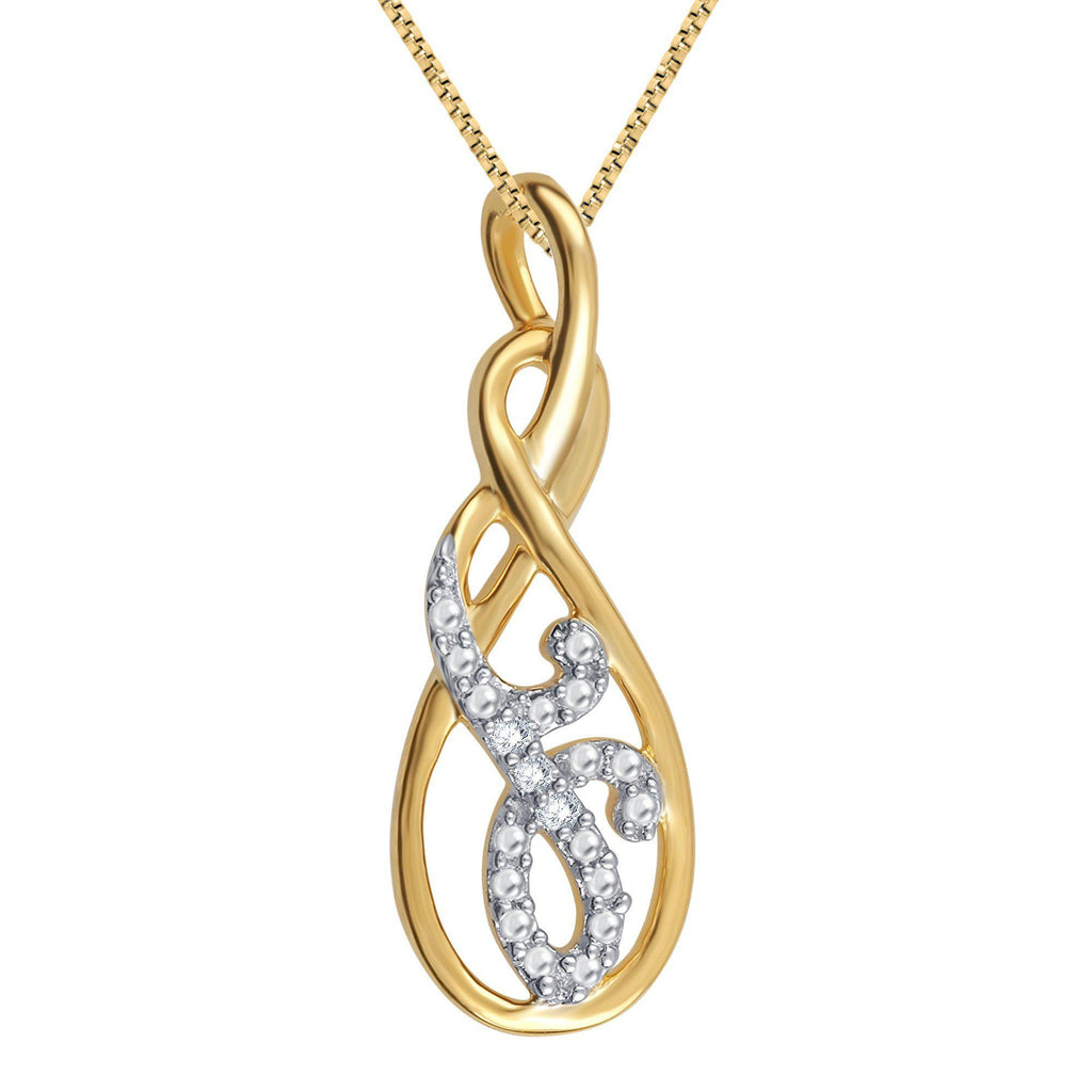 Diamond Accent Necklace In 14K Yellow Gold Plated - ShopMilano