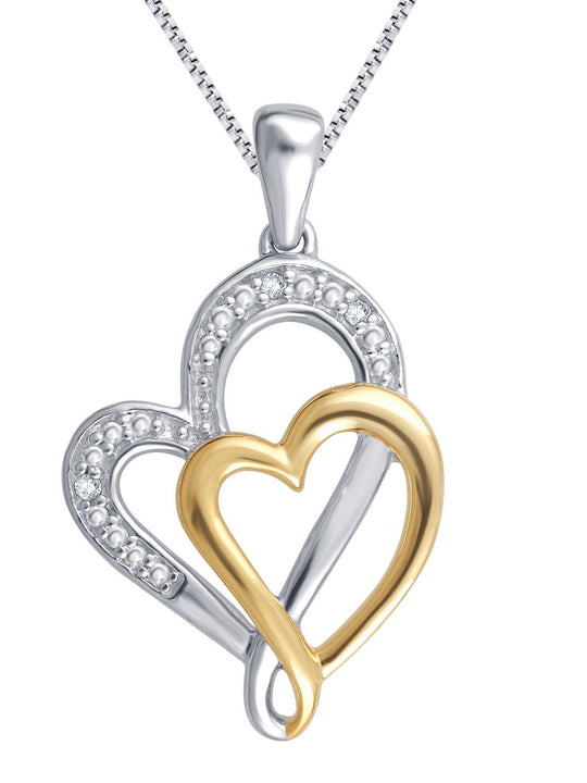 0.03 Carat Two Tone Double Heart Diamond Necklace In 14K Gold Plated