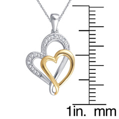 Two Tone Double Heart Diamond Necklace In 14K Gold Plated