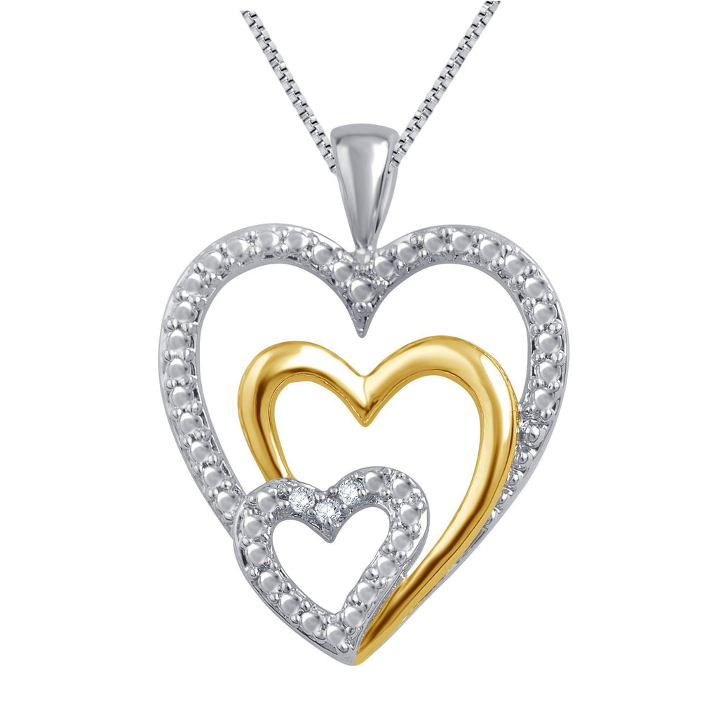 Triple Heart Diamond Necklace In Two-Tone 14K Gold Plated - ShopMilano