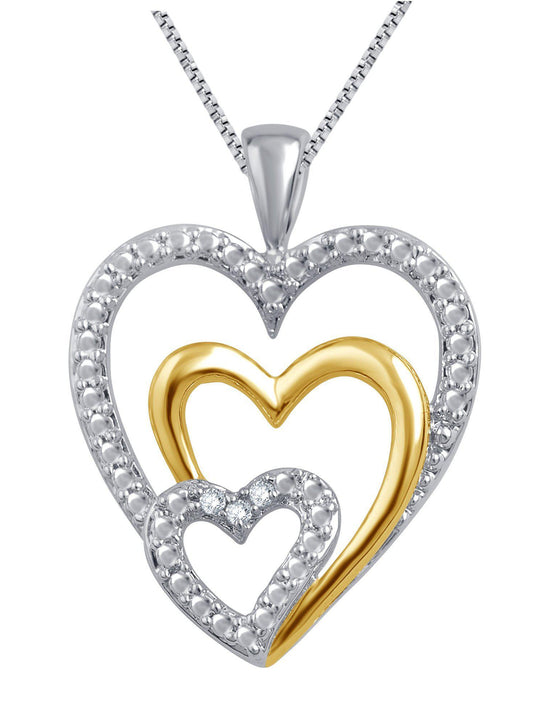 0.03 Carat Triple Heart Diamond Necklace In Two-Tone 14K Gold Plated