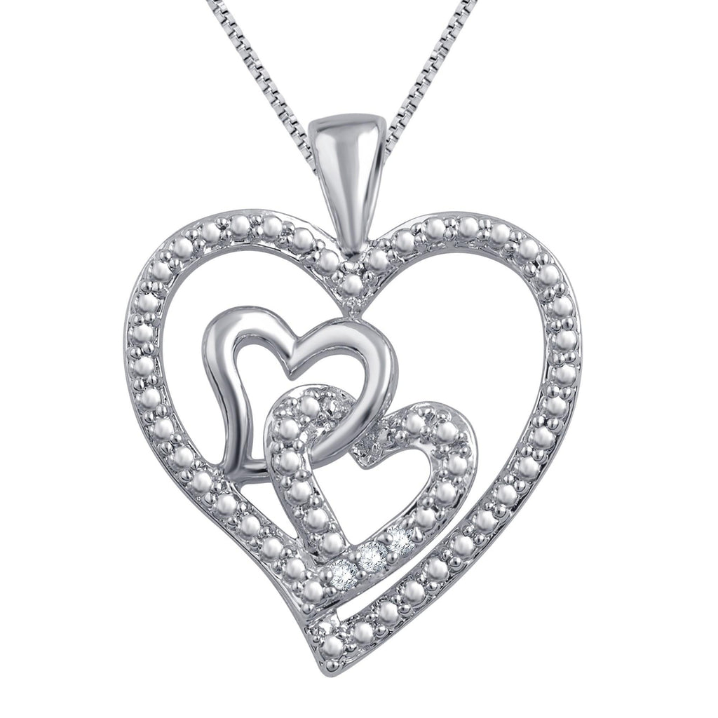 Triple Heart Diamond Necklace In 14K White Gold Plated - ShopMilano