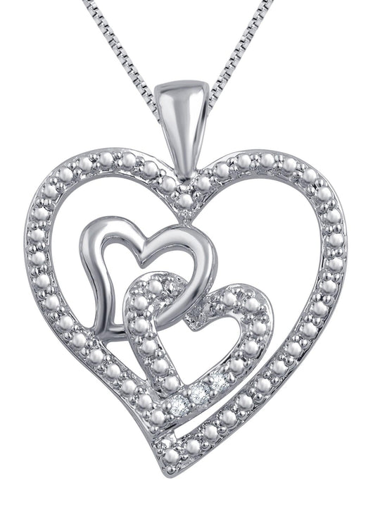 0.03 Carat Triple Heart Diamond Necklace In 14K White Gold Plated