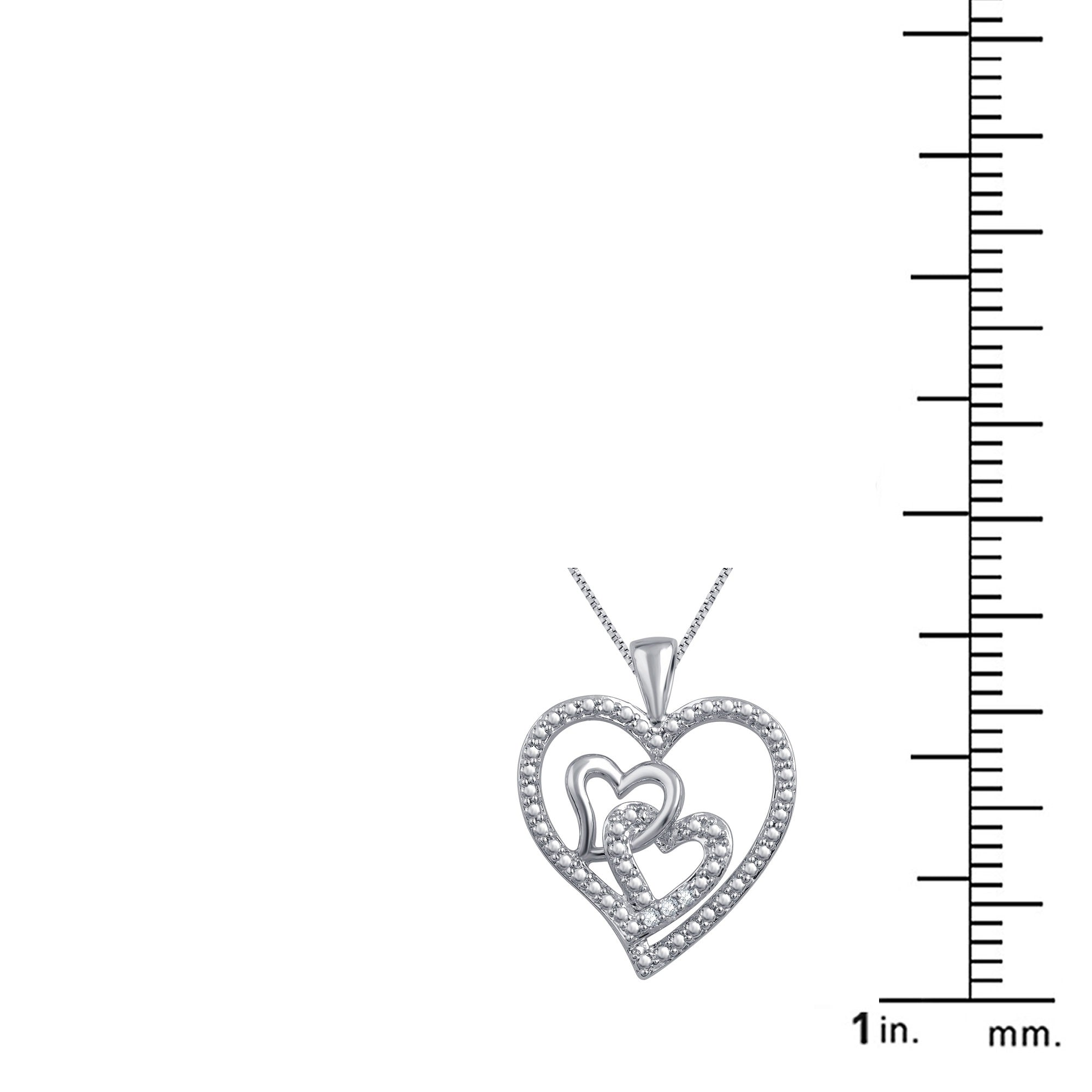 Triple Heart Diamond Necklace In 14K White Gold Plated