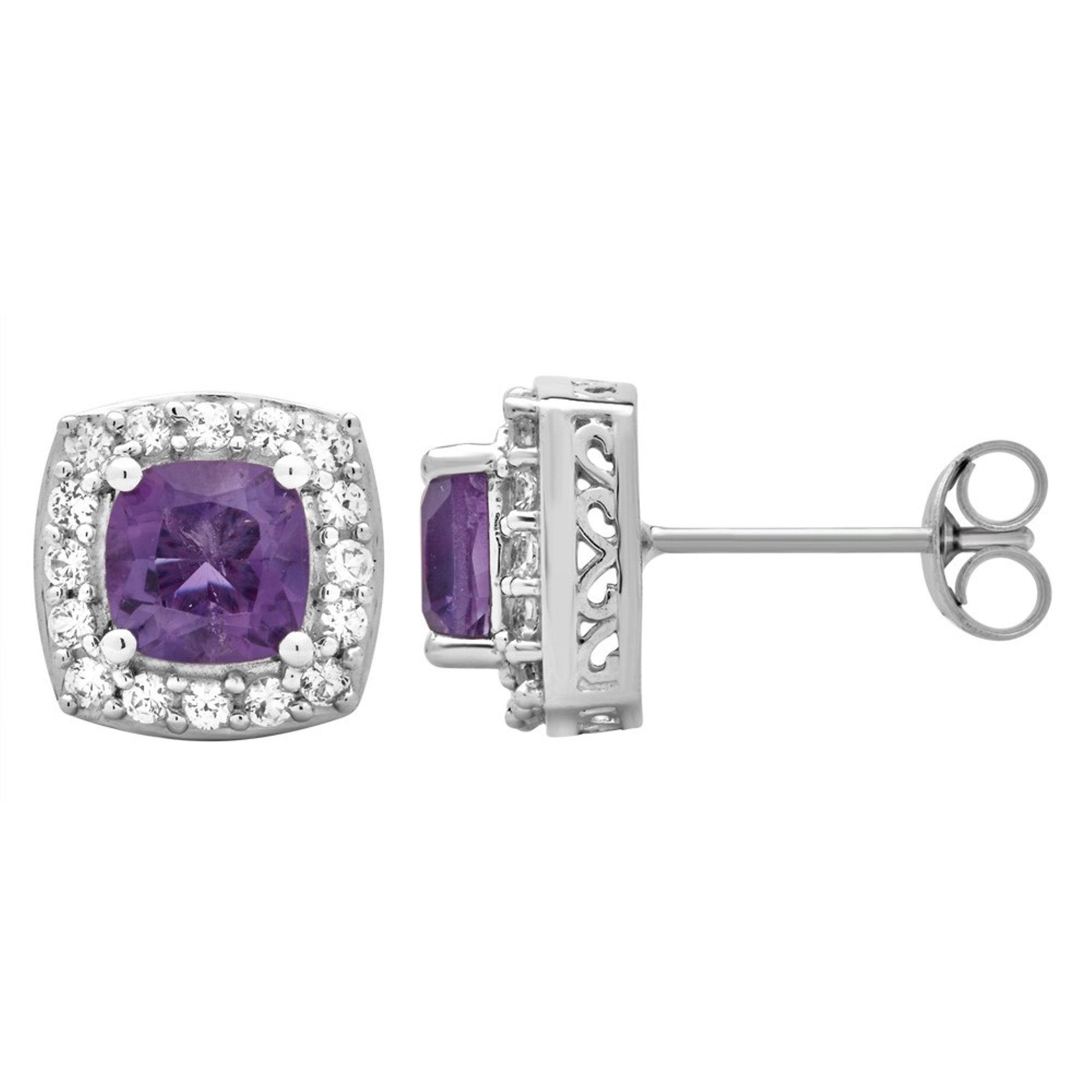 Classic Stud 1.50 Cttw Cushion Cut Amethyst & Round Cut White Sapphire Earrings In Sterling Silver