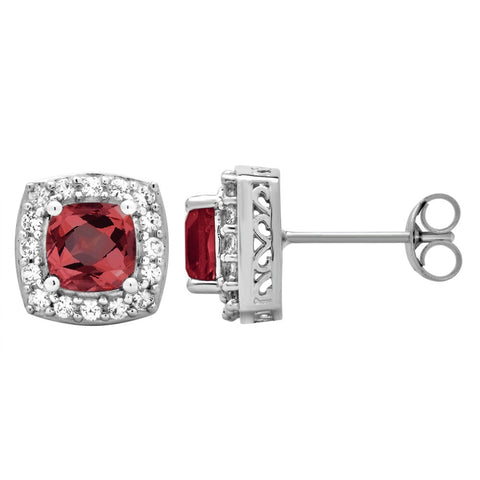 Classic Stud 1.50 Cttw Cushion Cut Garnet & Round Cut Cubic Zicrona Earrings In Sterling Silver