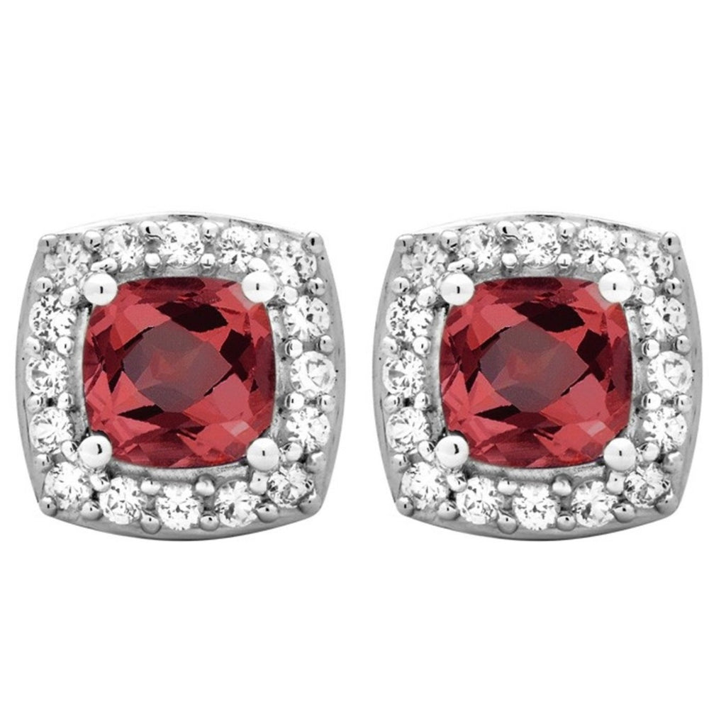 Classic Stud 1.50 Cttw Cushion Cut Garnet & Round Cut Cubic Zicrona Earrings In Sterling Silver - ShopMilano