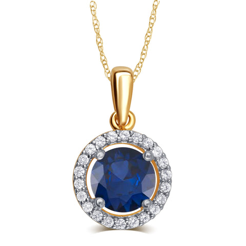 Created Blue Sapphire & all-natural White Sapphire Gemstone Necklace