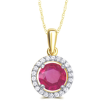 Created Ruby & White Sapphire Pendant Necklace