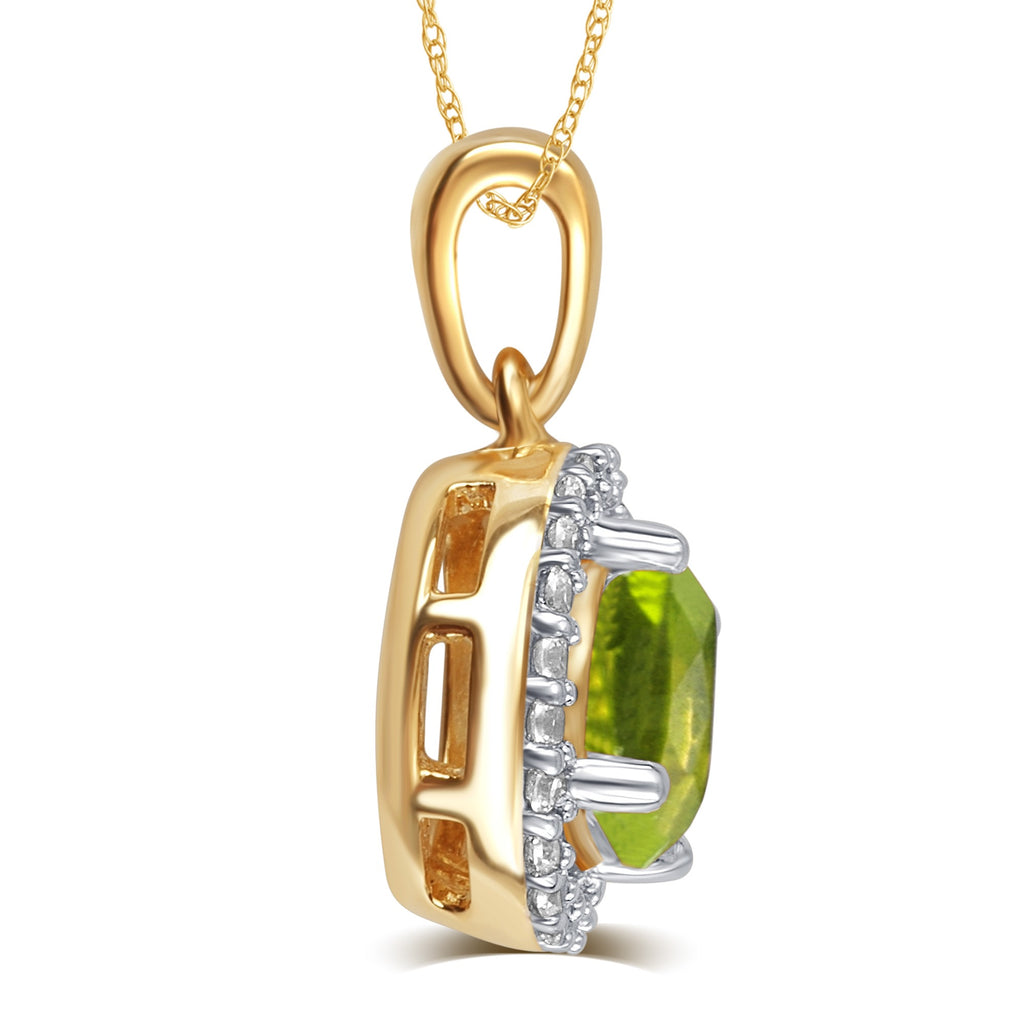 Created Peridot & White Sapphire Gemstone Necklace - ShopMilano