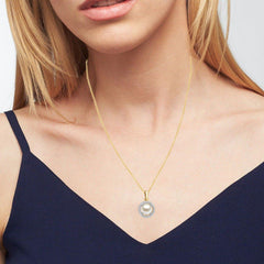 Created 8.5mm Pearl & White Sapphire Gemstone Necklace In 14K Yellow Gold Plated