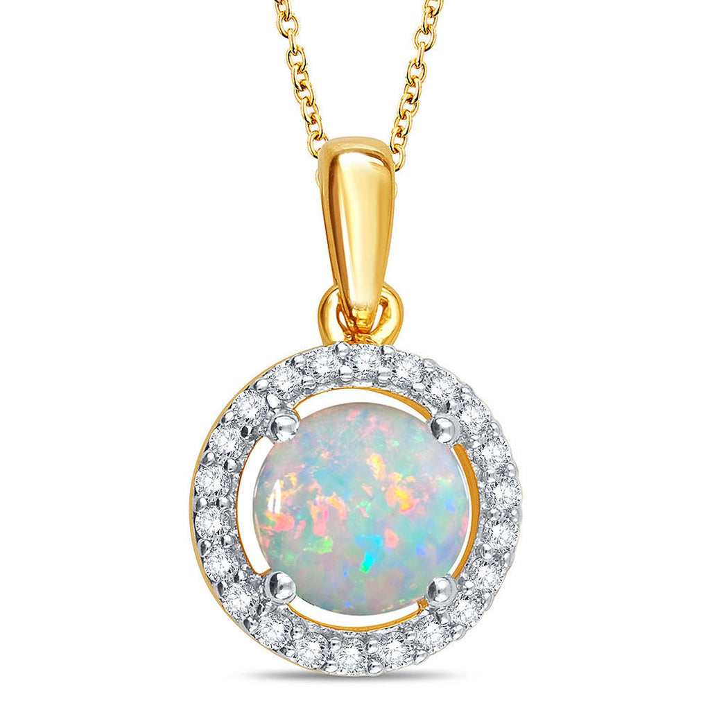 Created Opal & White Sapphire Gemstone Necklace - ShopMilano