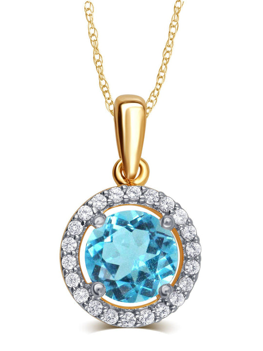 0.38 Carat Created Blue Topaz & White Sapphire Gemstone Necklace In 14K Yellow Gold Plated