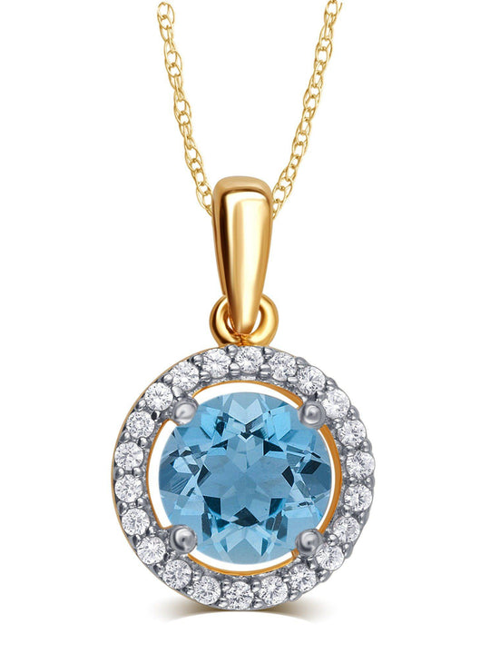 0.38 Cttw Created Aquamarine & White Sapphire Pendant Necklace In 14K Yellow Gold Plated