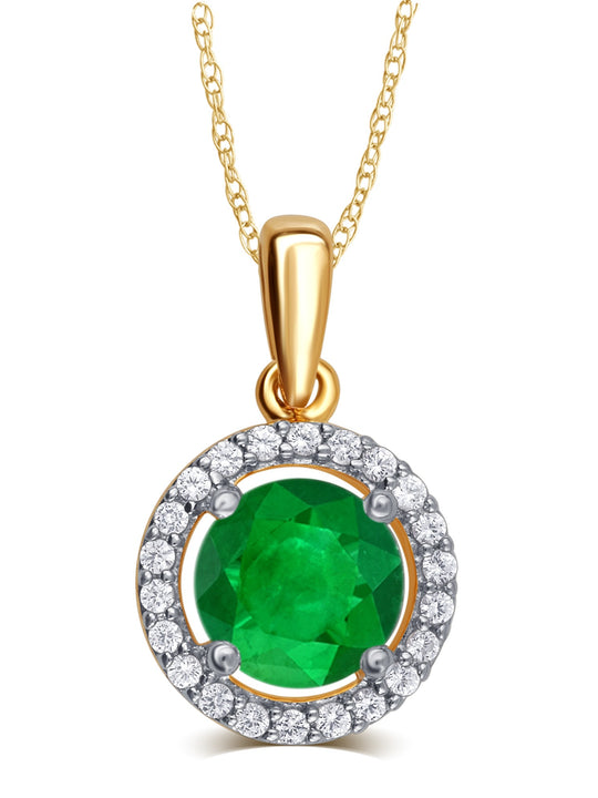 0.38 Cttw Created Emerald & White Sapphire Pendant Necklace In 14K Yellow Gold Plated