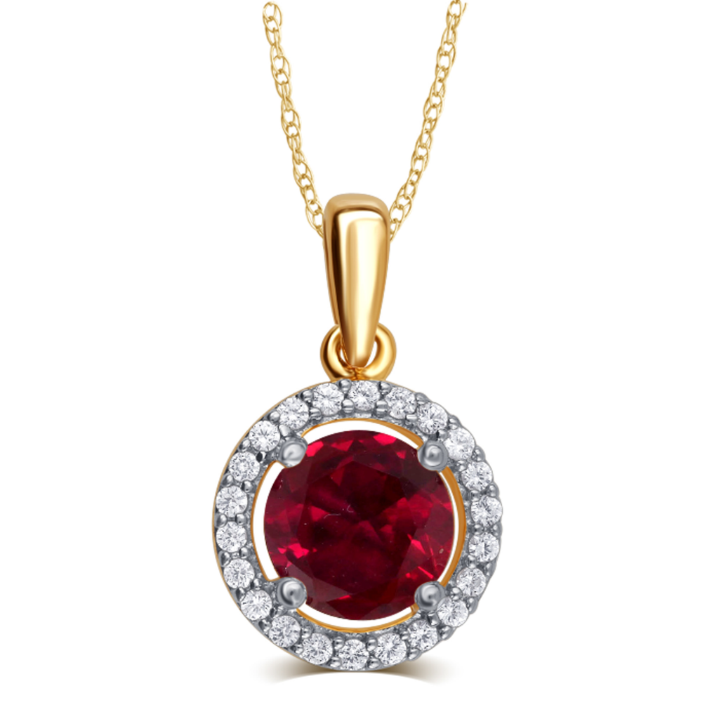 Garnet & White Sapphire Created Gemstone Necklace - ShopMilano
