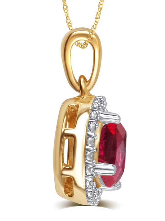 0.38 Carat Created Garnet & White Sapphire Gemstone Necklace In 14K Yellow Gold Plated