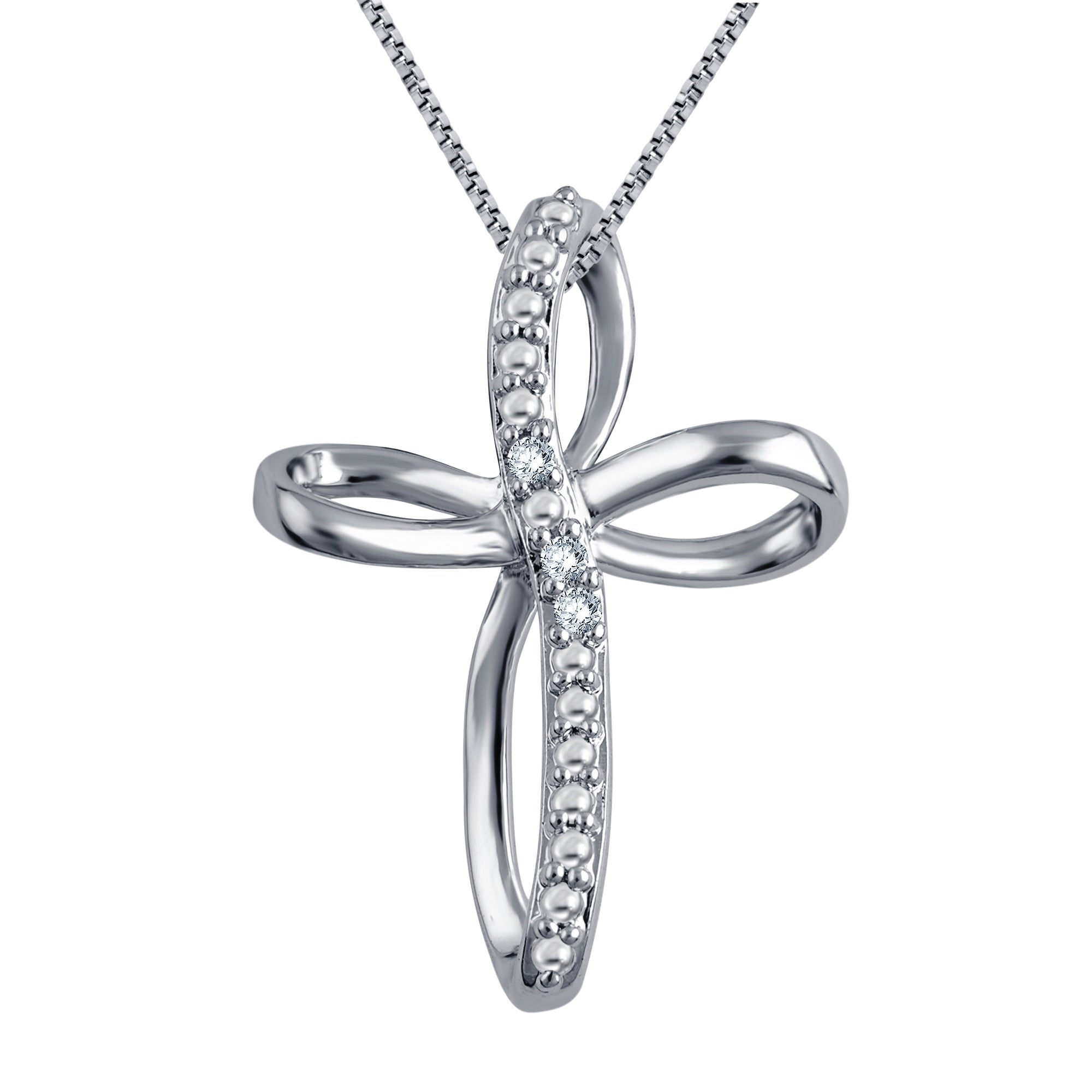 Diamond Accent Criss Cross Hoop Necklace In 14K White Gold Plated