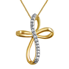 0.24 Carat Diamond Accent Criss Cross Hoop Necklace In 14K Yellow Gold Plated
