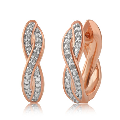 Diamond Accent Twisted Hoop Earrings In 14k Rose Gold Plated