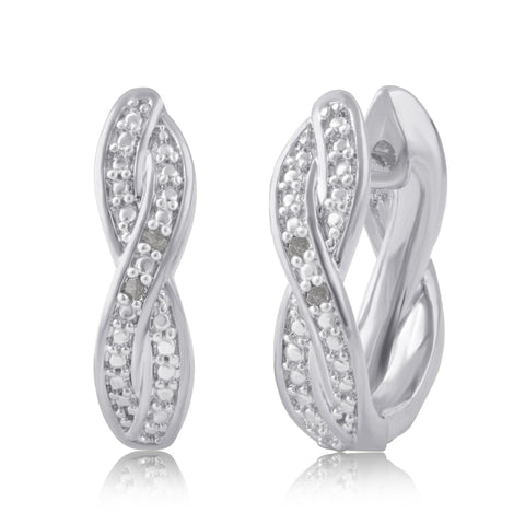 Diamond Accent Twisted Hoop Earrings In 14k White Gold Plated