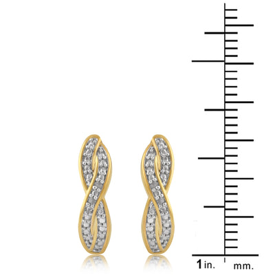 Diamond Accent Twisted Hoop Earrings In 14k Yellow Gold Plated