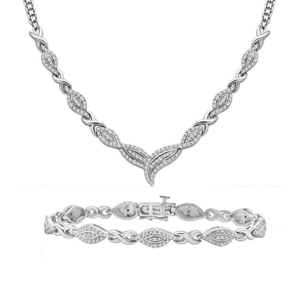 Diamond Infinity Necklace and Bracelet Set - ShopMilano