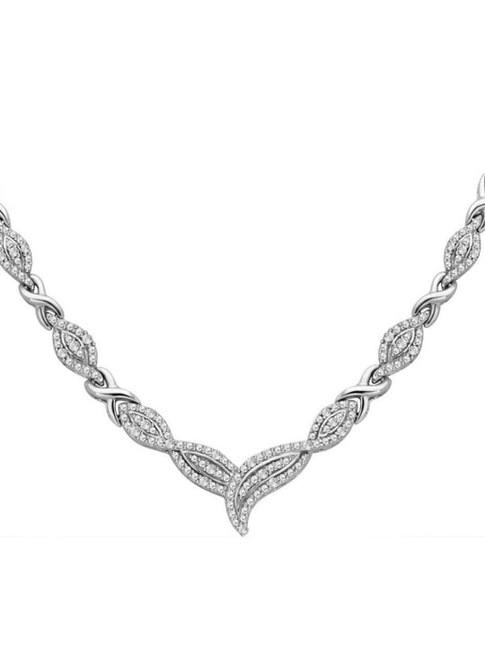 0.50 ctw Diamond Accent Infinity Necklace and Bracelet Set In 14K White Gold Plated