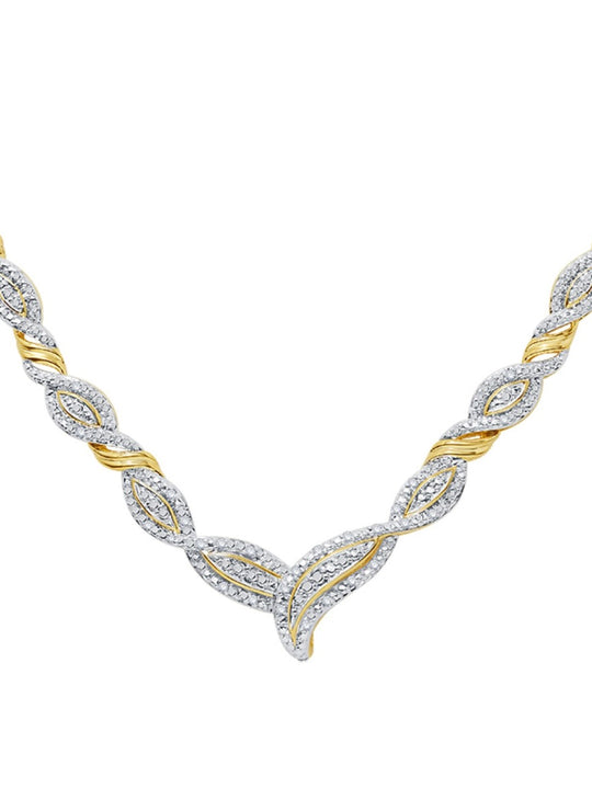 0.25 Ctw Diamond Accent Infinity Necklace In 14K Yellow Gold Plated