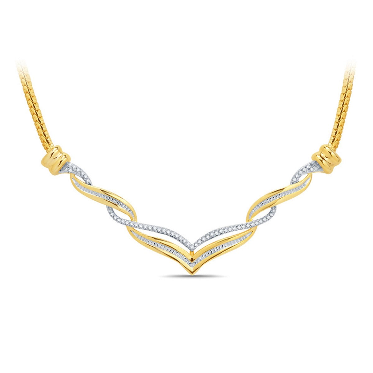 Diamond Accent Twisted Necklace In 14K Yellow Gold Plated