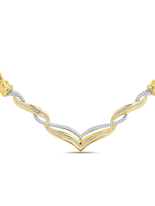 0.33 Ctw Diamond Accent Twisted Necklace In 14K Yellow Gold Plated