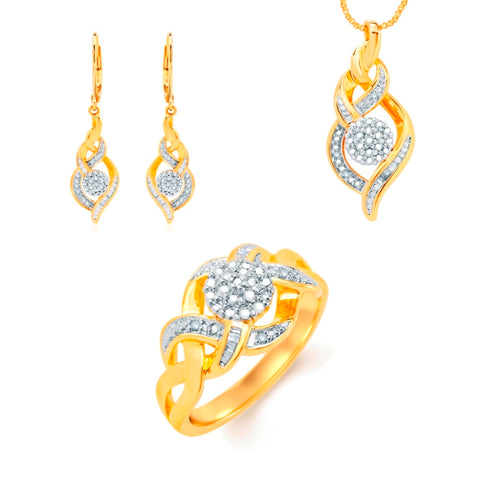 Diamond Accent Twisted Necklace,Earrings and Ring Set In 14K Yellow Gold Plated.