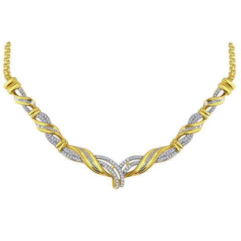 Diamond Accent Fashion Necklace In 14K Yellow Gold Plated.