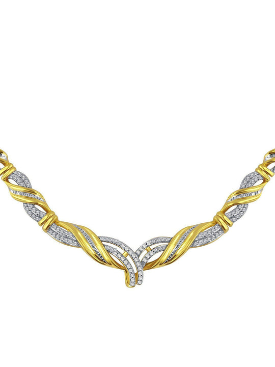 0.10 Ctw Diamond Accent Fashion Necklace In 14K Yellow Gold Plated.