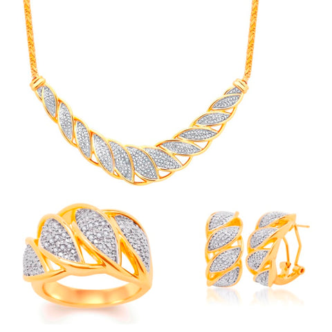 Diamond Accent Necklace, Earrings and Ring Set In 14K Yellow Gold Plated.