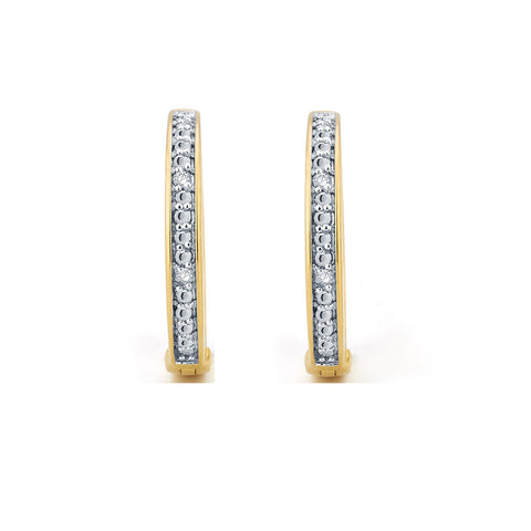 Diamond Accent Fashion Hoop Earrings In 14k Yellow Gold Plated.
