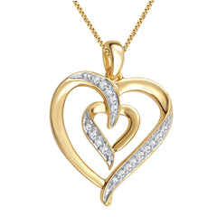 Diamond Accent Heart Shaped Necklace and Earrings Set In 14K Yellow Gold Plated