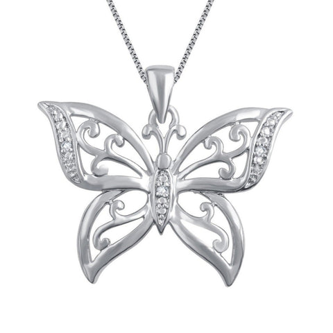 Diamond Accent Butterfly Shaped Necklace in 14k White Gold Plated.