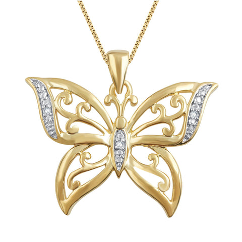 Diamond Accent Butterfly Shaped Necklace in 14k Yellow Gold Plated.